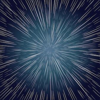 Gwiazdy wypaczenia. poruszanie się po przestrzeni, galaktyka promienia eksplozji. abstrakcyjne tło