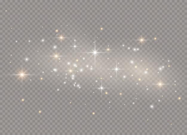 Gwiazdy z efektem blasku światła. błyszczy na przezroczystym tle. lśniące, magiczne cząsteczki kurzu.