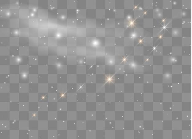 Gwiazdy z efektem lekkiego blasku. lśniące magiczne cząsteczki pyłu.