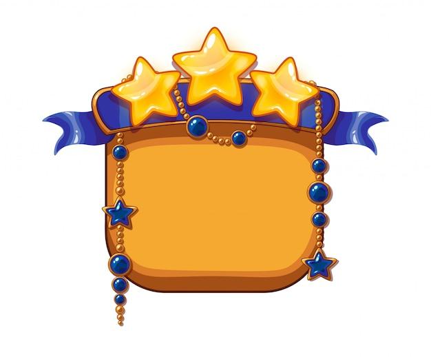 Gwiazdy zwycięstwa w grze, zasoby z kreskówek. złote gwiazdy z niebieską wstążką i kamieniami szlachetnymi