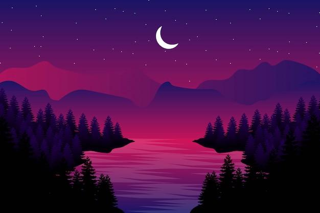 Gwiaździsta noc z sosnową lasową ilustracją