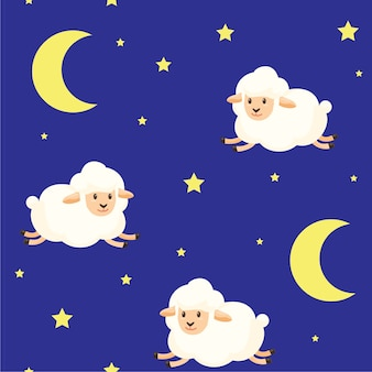Gwiaździsta noc z tekstura wzór owiec