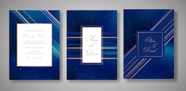 Gwiaździste niebo modny zestaw kart zaproszenia ślubne, zapisz datę niebiański szablon galaxy, przestrzeń, gwiazdy ilustracja w wektorze