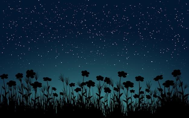 Gwiaździste nocne niebo pejzaż z sylwetką roślin