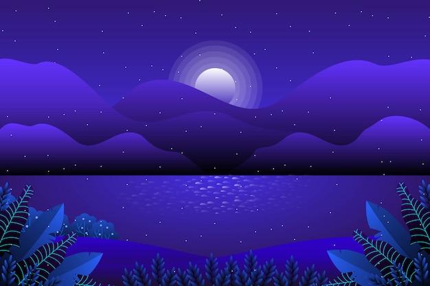 Gwiaździste nocne niebo z górskim i księżycowym krajobrazem
