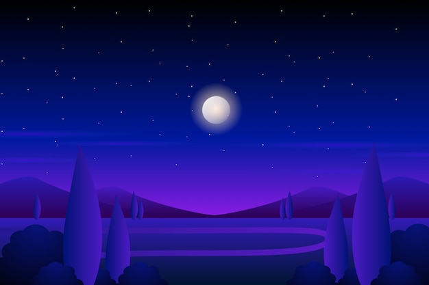 Gwiaździste nocne niebo z rzeką i nocną ilustracją krajobrazu lasu