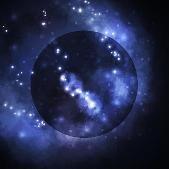 Gwiaździste tło, bogata mgławica tworząca gwiazdę, kolorowa abstrakcyjna ilustracja