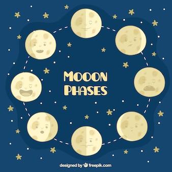 Gwiaździste tło z wielkimi fazami księżyca