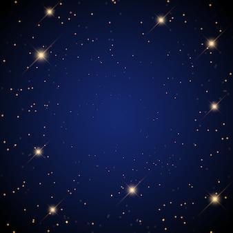 Gwiaździste tło ze świecącymi gwiazdami