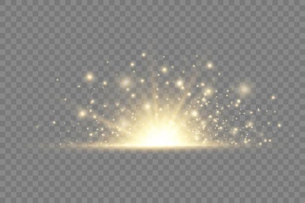 Gwiezdna eksplozja, żółte promienie świetlne promienie słoneczne, rozbłysk specjalny efekt z promieniami światła i magicznych iskier, jasna i świecąca złota gwiazda