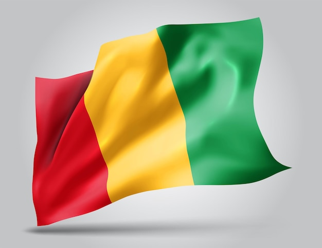 Gwinea, wektor flaga z falami i zakrętami macha na wietrze na białym tle.