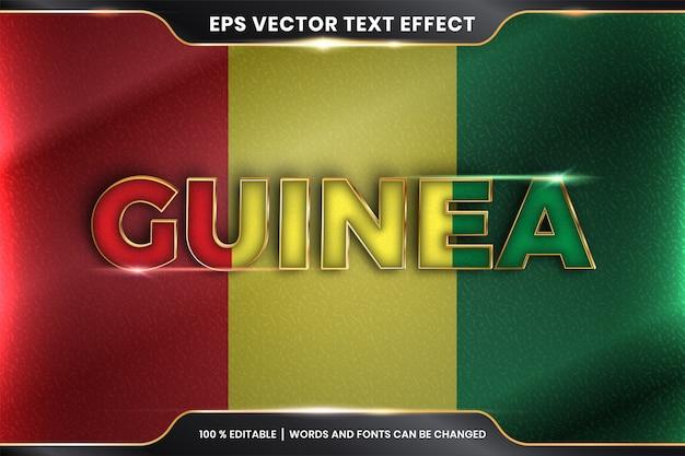 Gwinea z flagą narodową kraju, edytowalny efekt tekstowy ze złotym kolorem
