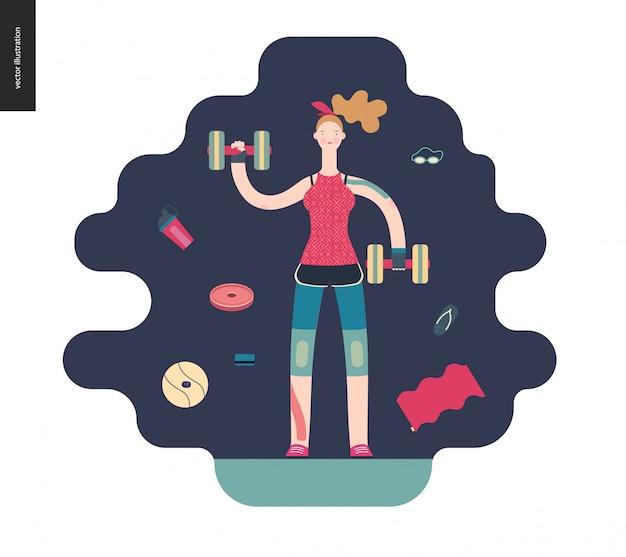 Gym - dziewczyna ćwiczy