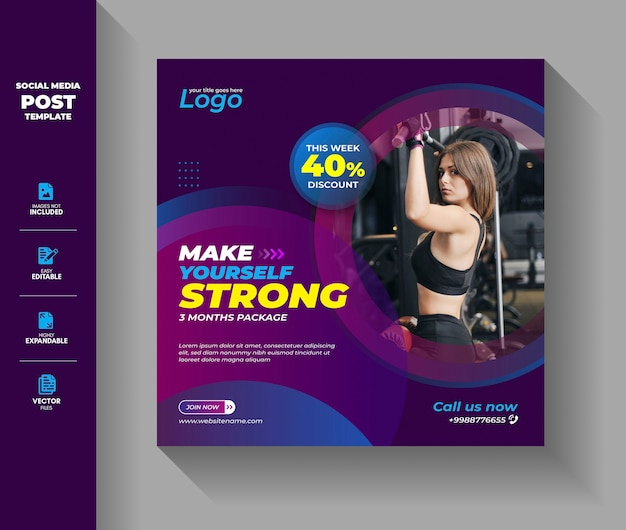 Gym fitness workout social media post instagram szablon transparent