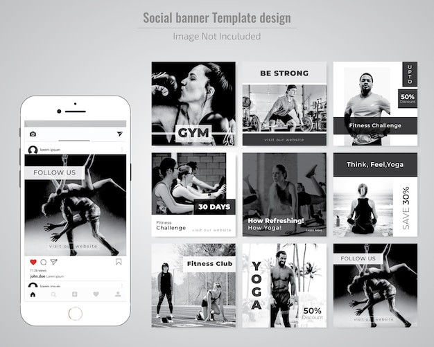 Gym, gymnesium & yoga social media post template