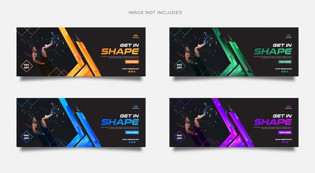 Gym media społecznościowe obejmują szablon wielu kolorów gradientu