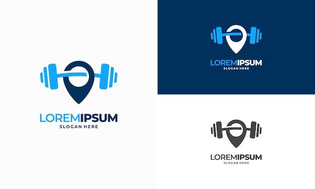 Gym point logo projektuje wektor koncepcyjny, ikona symbol logo centrum fitness