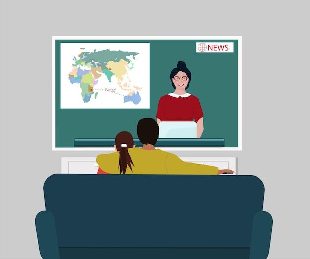 Ha mężczyzna i kobieta oglądają wiadomości w telewizji. treść wieczoru telewizyjnego. odpoczywać w domu