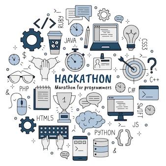Hackathon zestaw ikon stylu doodle dla programistów i programistów