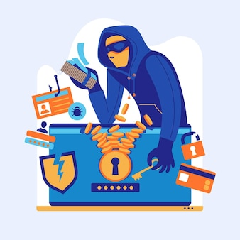 Hacker aktywności pojęcia ilustracja z mężczyzna