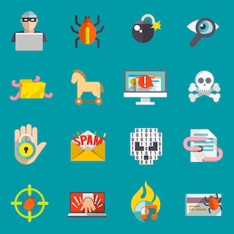 Hacker ikony płaski zestaw