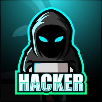 Hacker maskotka esport ilustracja