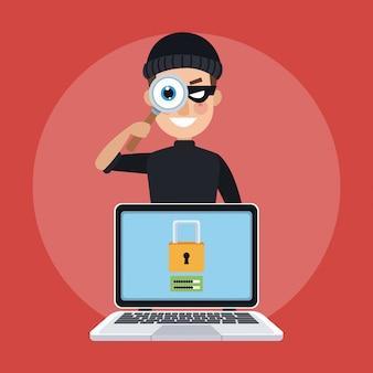 Hacker z lupy przyglądającym laptopem