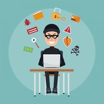 Hacker z selaptop i symbolami bezpieczeństwa
