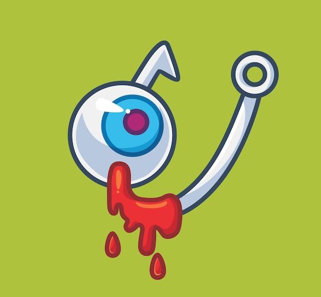 Haczyk na ryby oczy z krwią na białym tle kreskówka halloween ilustracja koncepcja płaski styl odpowiedni
