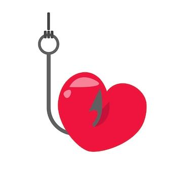 Haczyk wędkarski z przynętą w formie serca. ilustracja wektorowa w stylu kreskówki