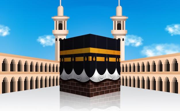 Hadżdż mabrour islamska pielgrzymka do mekki w arabii saudyjskiej. budynek kaaba. eid al adha mubarak.