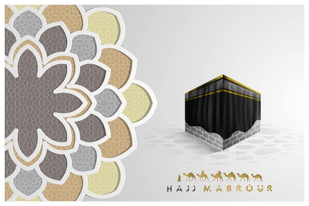 Hadżdż mabrour pozdrowienie islamski kwiatowy wzór z arabską kaligrafią