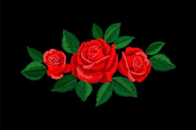Haft czerwona róża. naklejka dekoracyjna z motywem mody. aranżacja haftu kwiatowego. tradycyjna etniczna tkanina druku tekstylna ilustracja