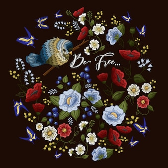 Haft kolorowy wzór z kwiatowym ornamentem