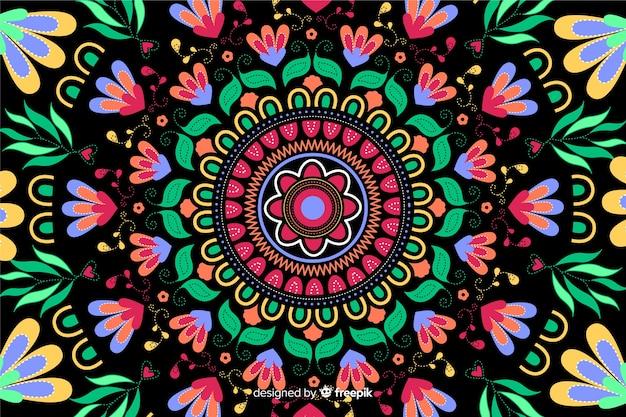 Haft meksykański kwiatowy tło