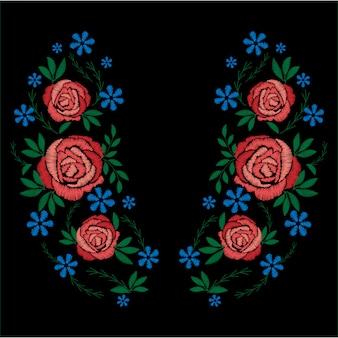 Haft z czerwonych róż i niebieskich kwiatów. modny krój koszulki.