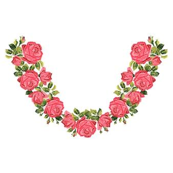 Haftowane czerwone róże z liśćmi i pąkami. etniczna linia dekoltu w kwiaty, kwiatowy wzór, grafika nosząca modę. haft na koszulce.