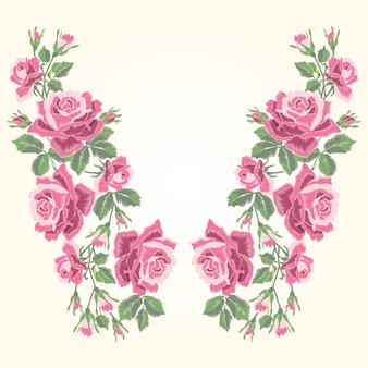 Haftowane czerwone róże z liśćmi i pąkami. etniczna linia dekoltu w kwiaty, kwiatowy wzór, modne grafiki. haft na koszulce.