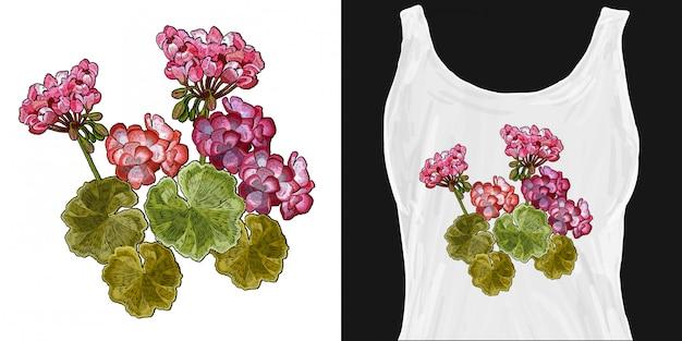 Haftowane kwiaty pelargonii
