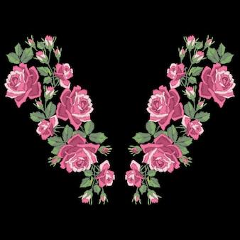 Haftowane róże z liści i pąków. etniczna linia dekoltu w kwiaty, kwiatowy wzór, modne grafiki. haft na koszulce.