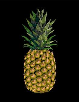 Haftowany żółty ananasowy owoc. tekstura haftu wydruku mody