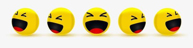 Haha śmieszne emotikony dla sieci społecznościowej lub wesołe i śmiejące się emotikony
