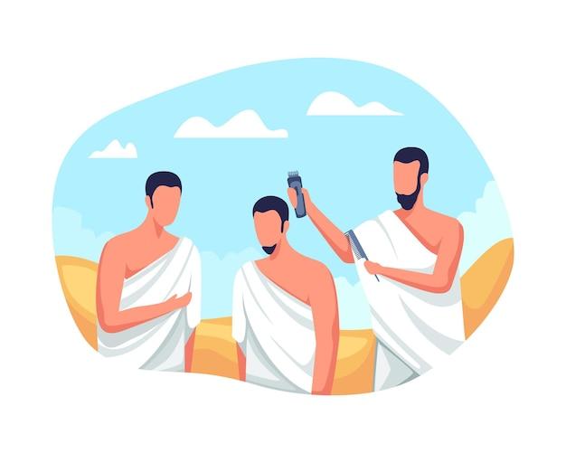 Hajj i umrah islamski rytuał pielgrzymkowy. postacie muzułmańskie golą lub przycinają włosy, rytuał pielgrzymki hajj. pielgrzymi hadżdż golą głowy, tahallul z ogolonymi włosami. ilustracja wektorowa w stylu płaski