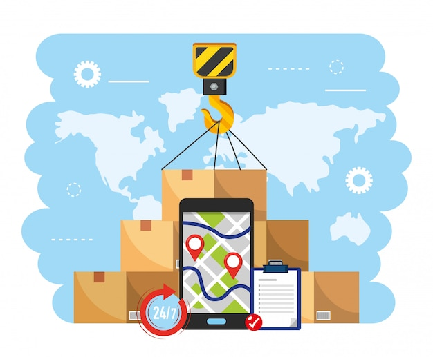 Hak hakowy z pudełkami pakiet map i smartfonów gps