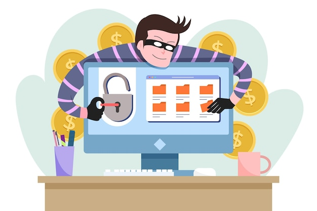 Haker aktywność ilustracja koncepcja
