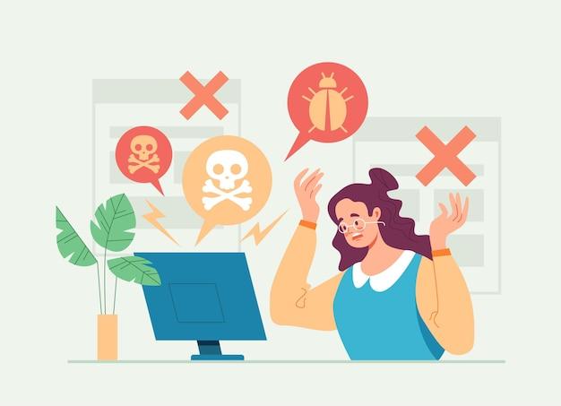 Haker atakuje komputer z płaską kreskówkową ilustracją wirusa