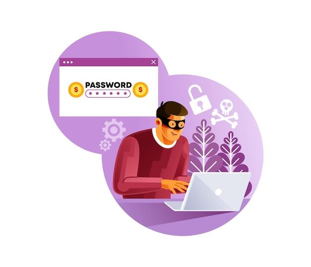 Haker cyber złodziej działalności na urządzeniu internetowym