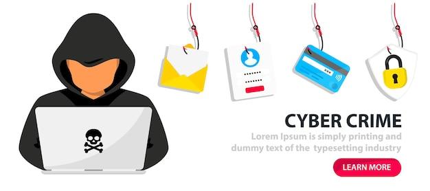 Haker i cyberprzestępcy phishing kradną prywatne dane osobowe, login użytkownika, hasło, dokument, adres e-mail i kartę kredytową. phishing i oszustwa, oszustwa internetowe i kradzieże. haker siedzący przy pulpicie