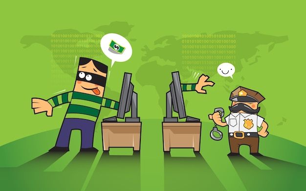 Haker i przestępczości w internecie koncepcji.