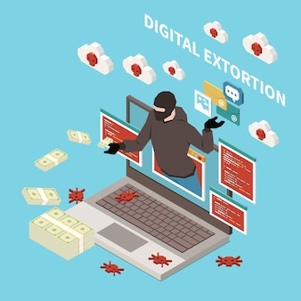 Haker łowiący przestępczość cyfrową izometryczną koncepcję z cyfrową ilustracją wymuszenia
